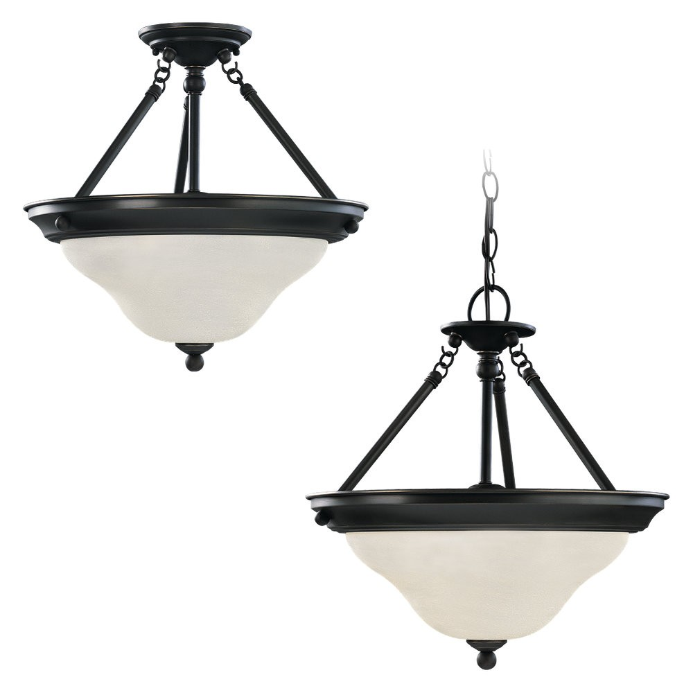 Three Light Semi-Flush Convertible Pendant