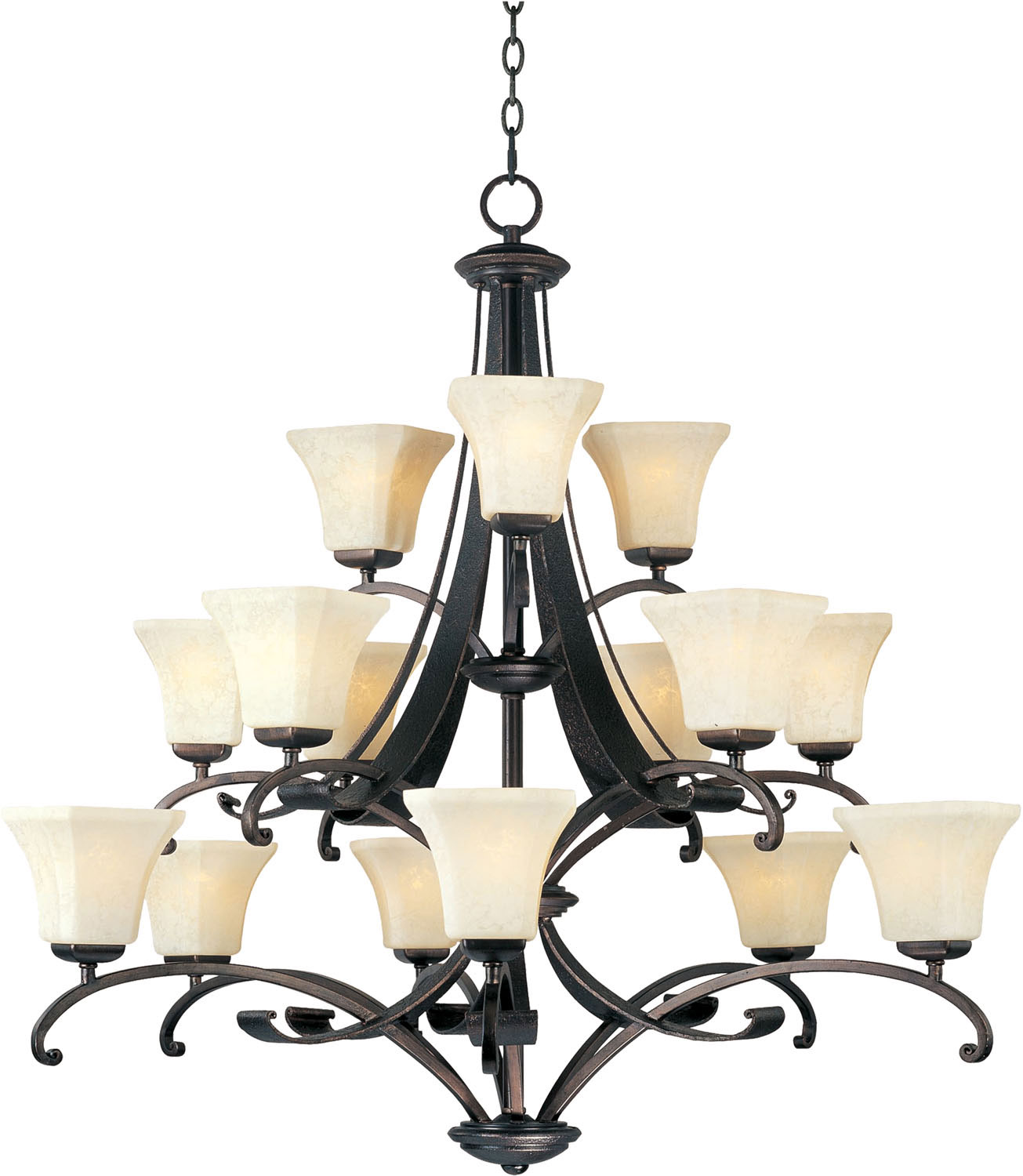 15 Light Chandelier from the Oak Harbor collection by Maxim 21067FLRB