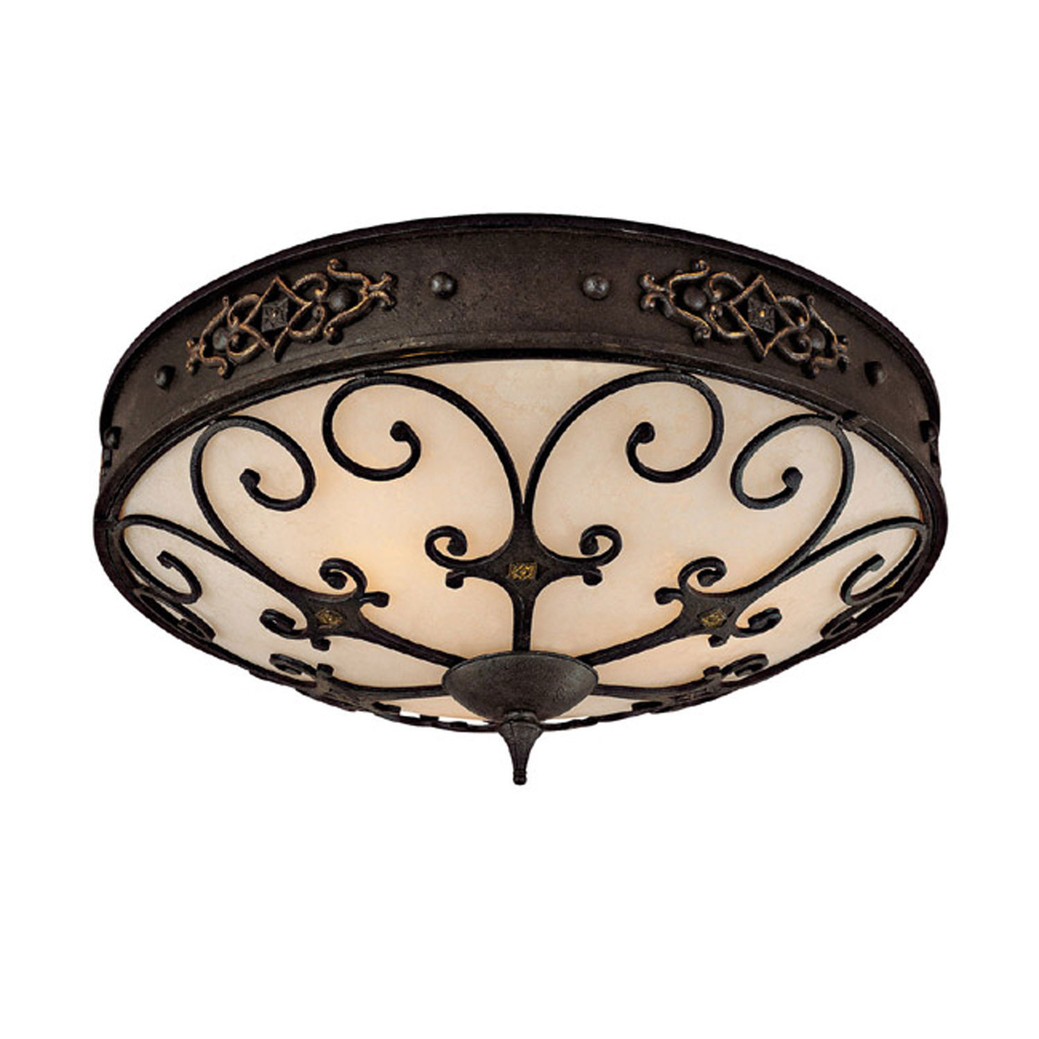 Three Light Ceiling Fixture With Grille