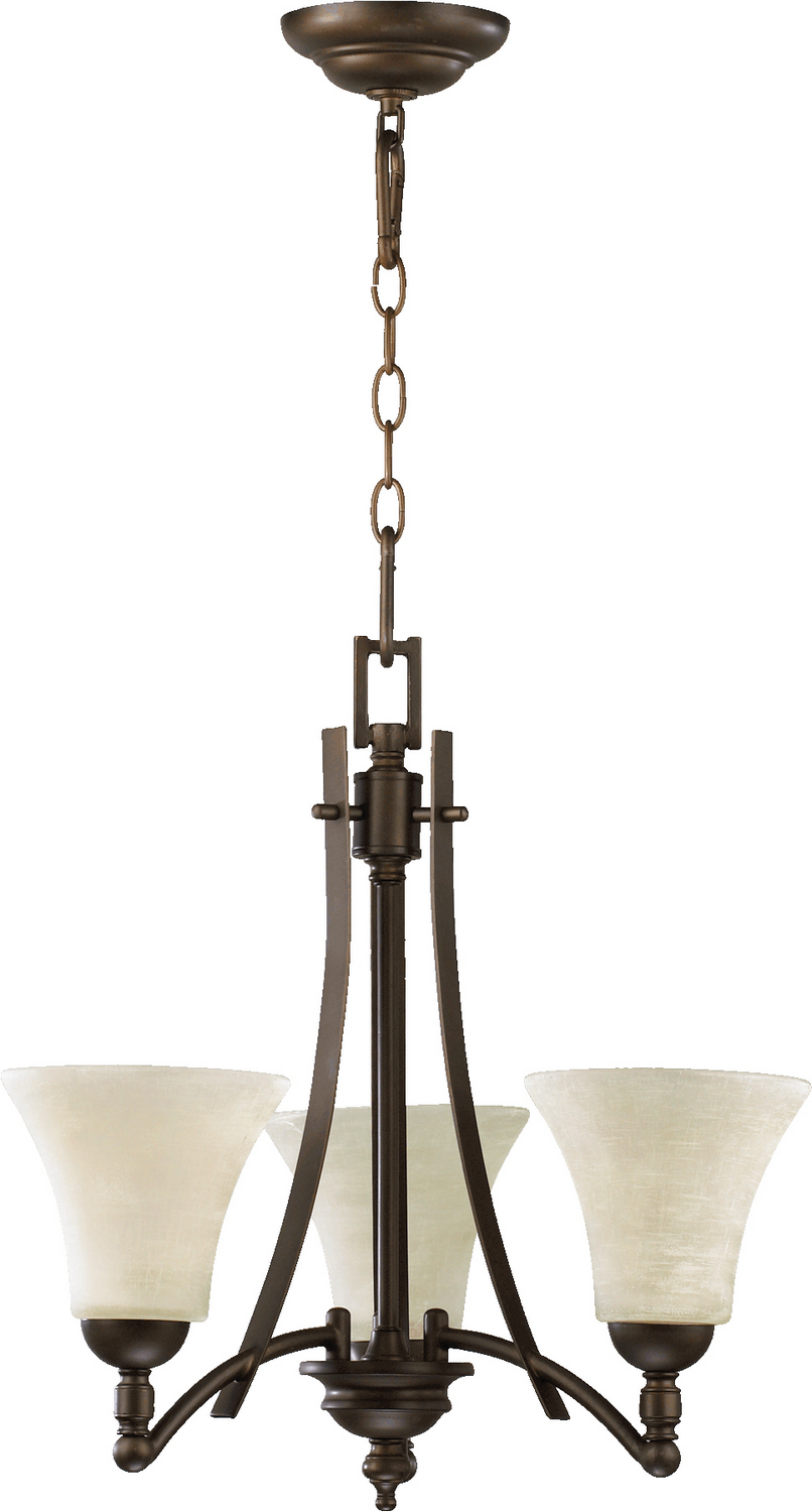 Three Light Chandelier From The Aspen Collection By Quorum