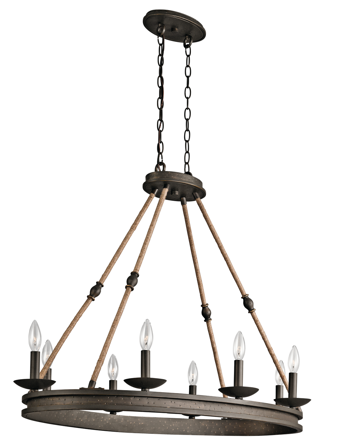 Eight Light Chandelier from the Kearn collection by Kichler 43422OZ