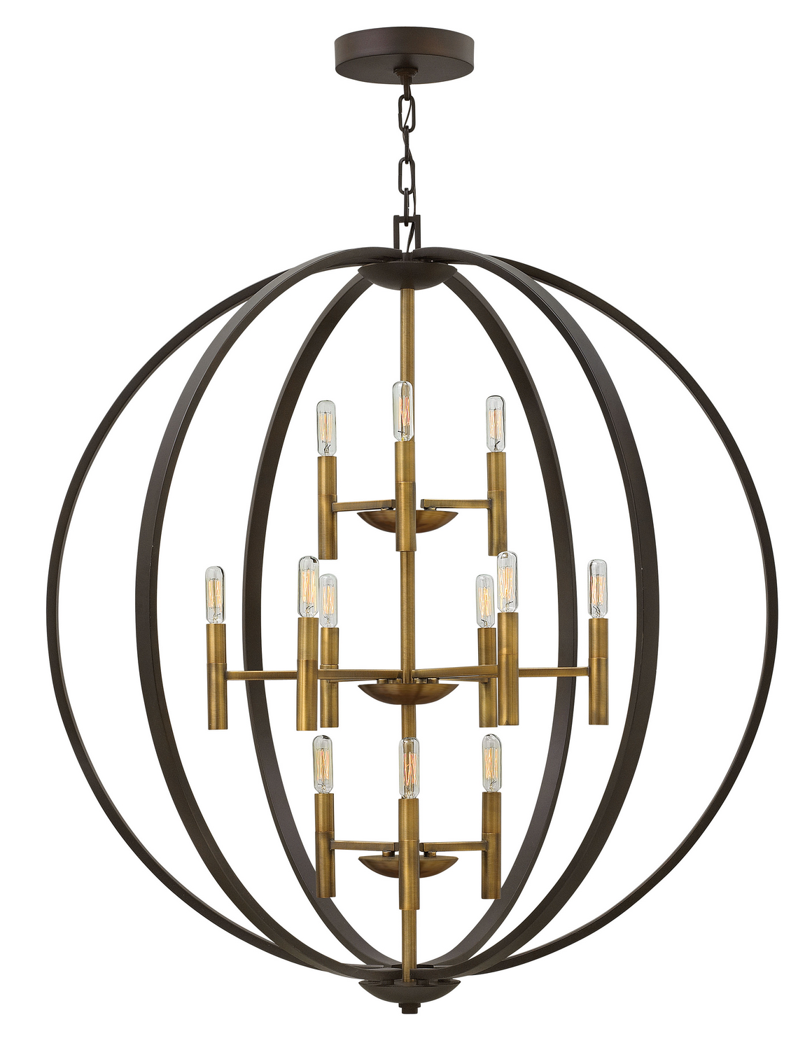 12 Light Foyer Pendant from the Euclid collection by Hinkley 3469SB