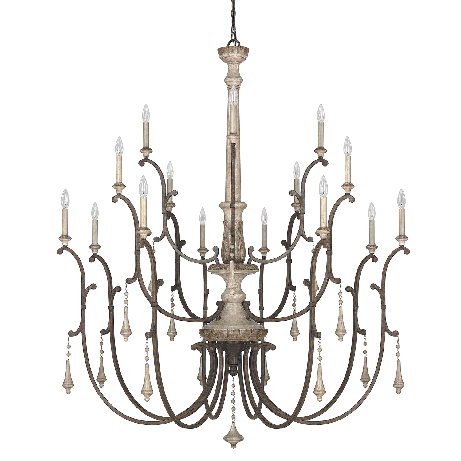 16 Light Chandelier from the Chateau French Oak collection by Capital Lighting 4098FO