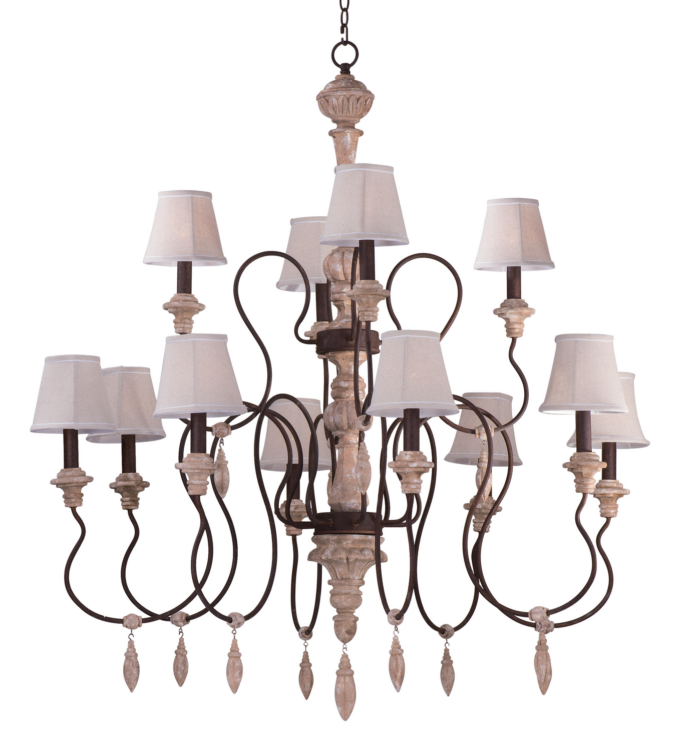 12 Light Chandelier from the Olde World collection by Maxim 39609SWSHD396