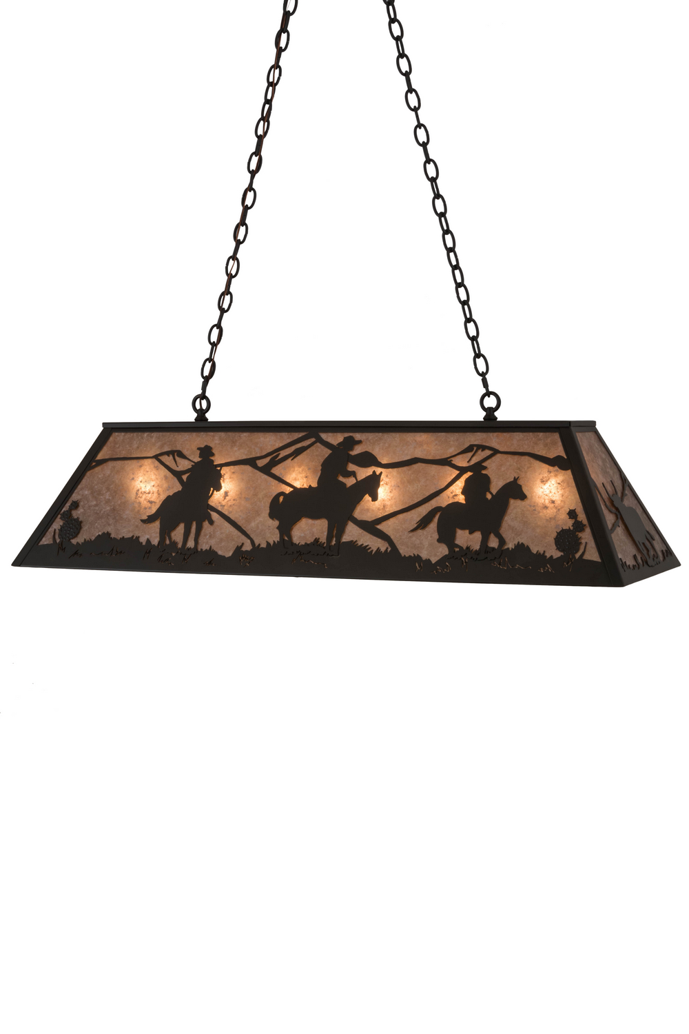 Six Light Oblong Pendant From The Cowboy Steer Collection By Meyda Tiffany 184715