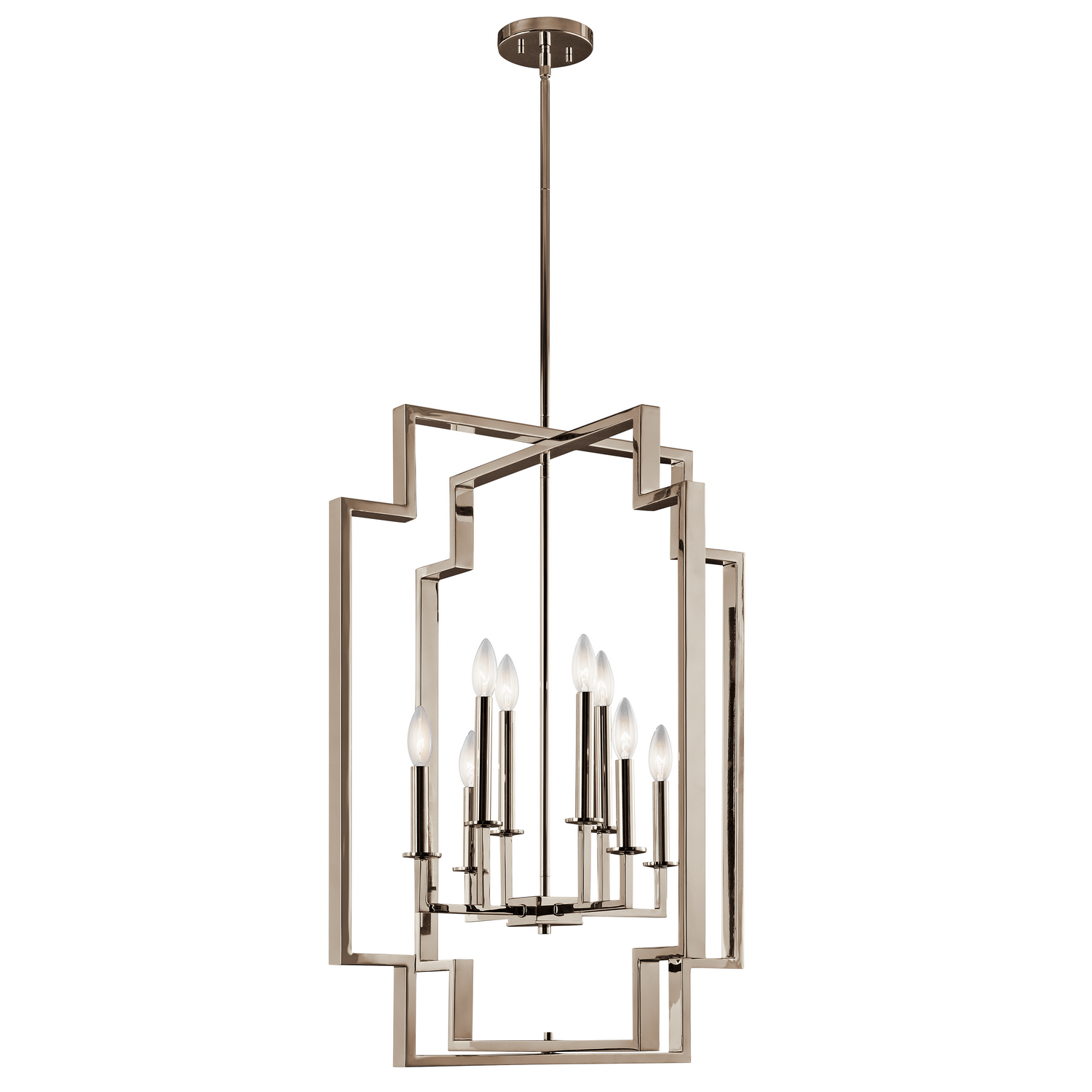 Eight Light Foyer Chandelier from the Downtown Deco collection by Kichler 43966PN