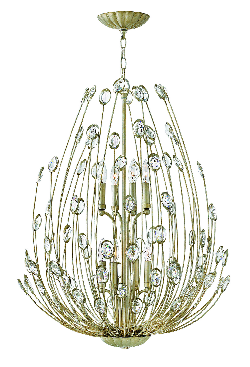 Eight Light Chandelier from the Tulah collection by Fredrick Ramond FR31028SLF