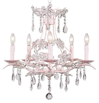 Clear Jubilee Collection 7106-8305 5 Arm Cinderella Pink with Bulb Cover