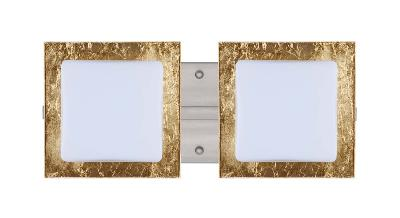 BESA Lighting 2WS-7735GF-SN 2-Light Halogen Vanity Light w// Opal//Gold Foil Glass