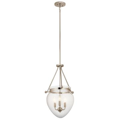 Kichler 42592pn belle three light foyer pendant polished nickel