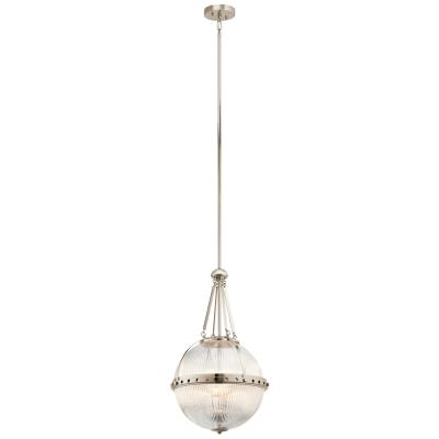 Kichler 43968pn aster three light pendant polished nickel