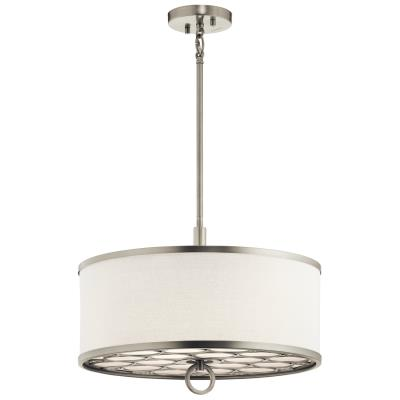 Kichler 43987ni melrose three light pendant semi flush mount brushed nickel