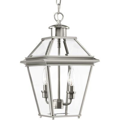 Progress lighting p6537 09 burlington two light hanging lantern brushed nickel