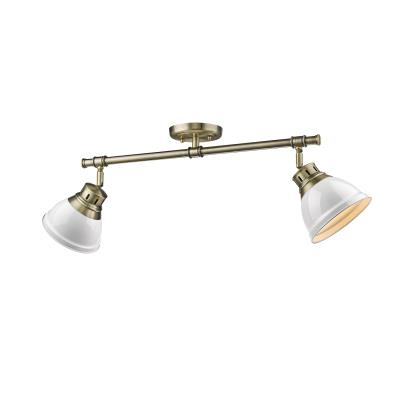 Alexandria lighting golden 3602 2sf ab wh two light semi flush track mozeypictures Choice Image