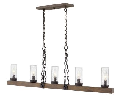 Hinkley 29205sq sawyer five light outdoor linear pendant sequoia
