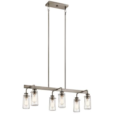 Kichler 43059clp braelyn six light linear chandelier classic pewter