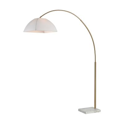 Helianthus one light floor lamp aged brass and white marble
