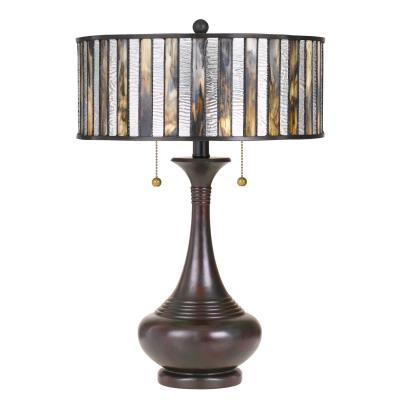 Quoizel tf3334tva tiffany two light table lamp valiant bronze