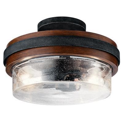 flush mount vent hood kichler 44100aub grand bank two light semi flush mount auburn stained cardello lighting