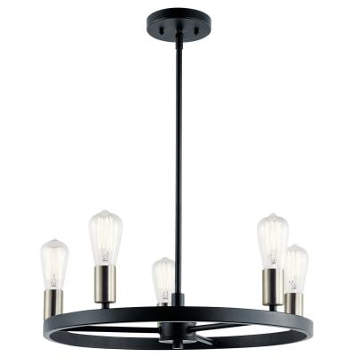 Kichler 44195mbk brooklyn five light chandelier matte black