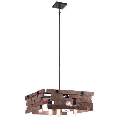 Kichler 44228avi cuyahoga mill five light pendant anvil iron