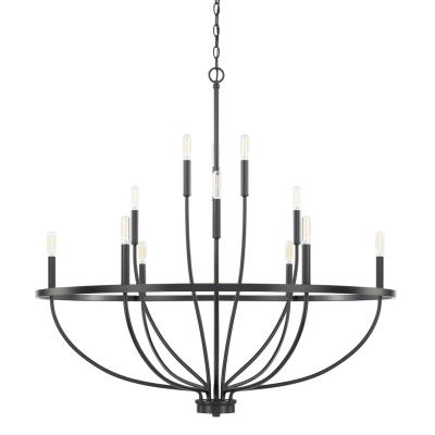 Capital lighting 428501mb greyson 12 light chandelier matte black