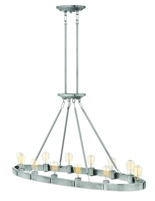 Hinkley 4396bn everett 12 light linear chandelier brushed nickel