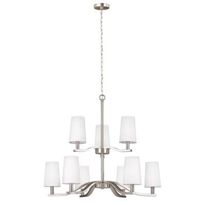Galleria lighting seagull 3128009en 962 nance nine light chandelier brushed nickel aloadofball Choice Image