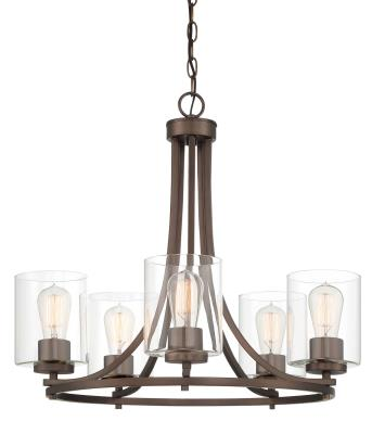 Designers Fountain Five Light Chandelier Liam Satin Copper