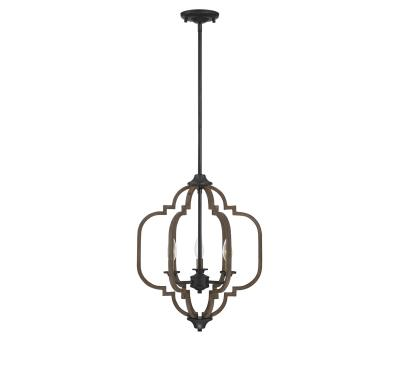 Three Light Pendant   Barrelwood W/ Brass Accents Idea